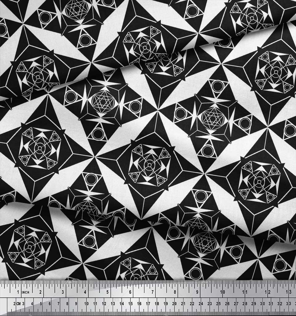 Soimoi-Black-Cotton-Poplin-Fabric-Geometrical-Star-Geometric-Print-FLE thumbnail 4