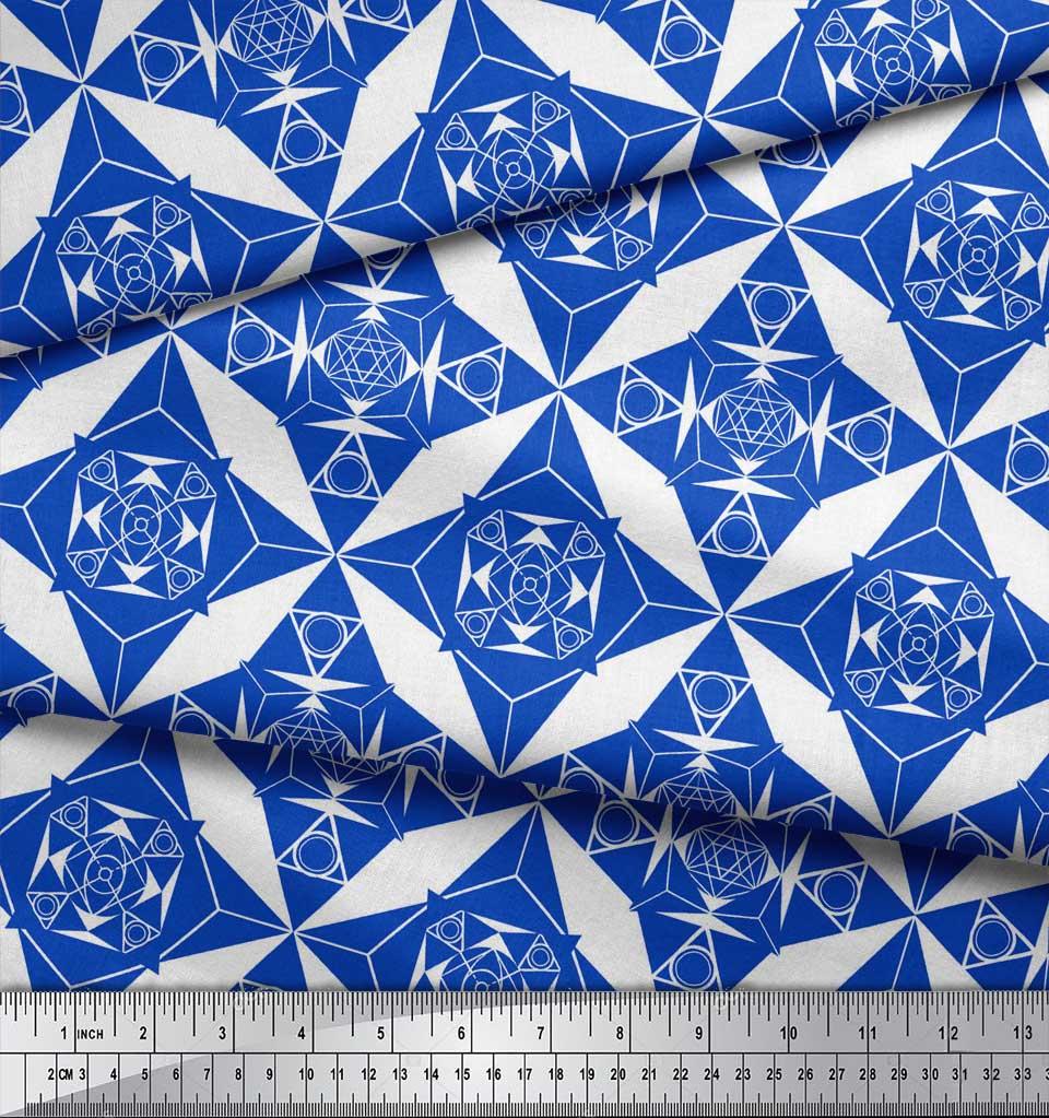 Soimoi-Blue-Cotton-Poplin-Fabric-Geometrical-Star-Geometric-Fabric-ijG thumbnail 4