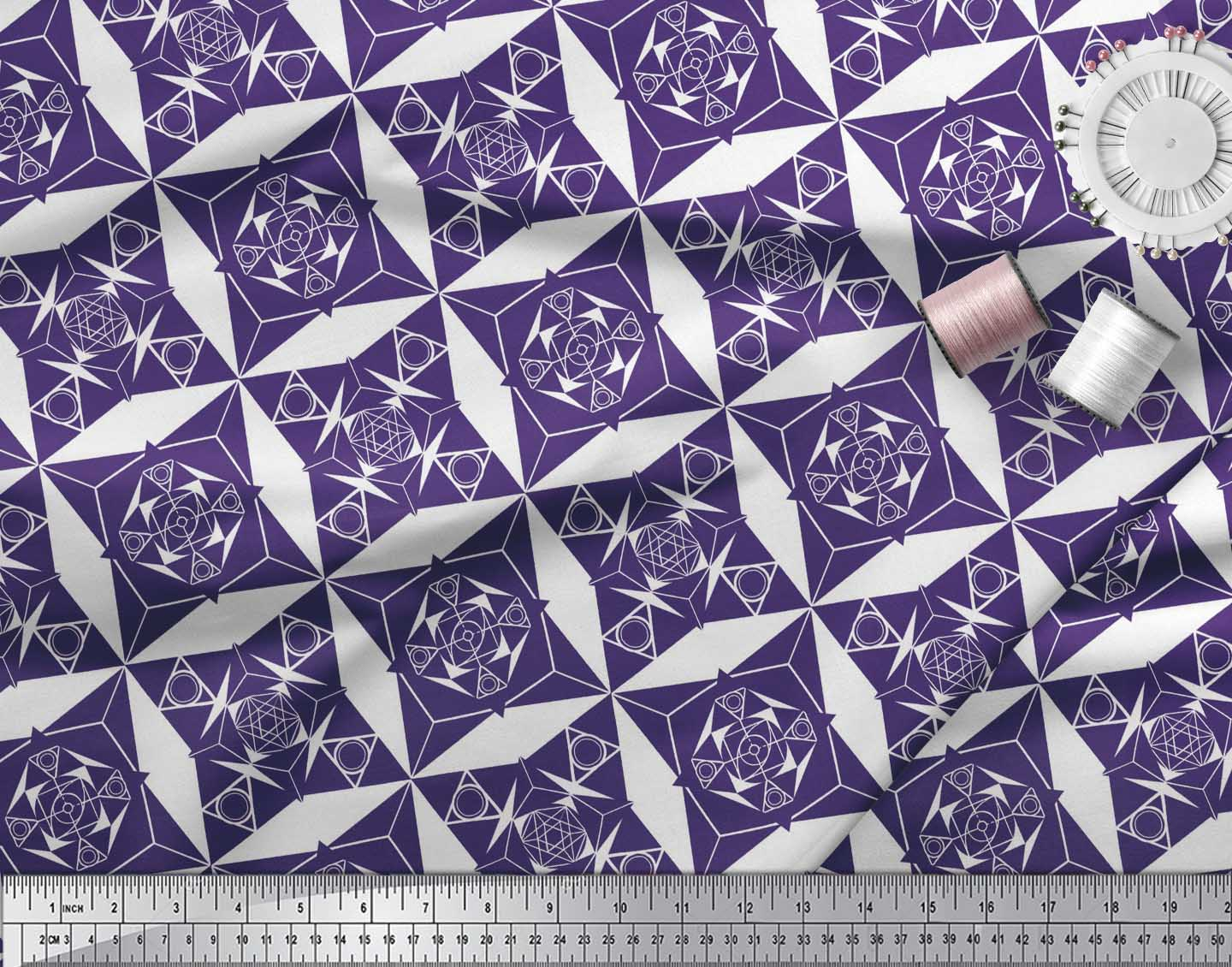 Soimoi-Purple-Cotton-Poplin-Fabric-Geometrical-Star-Geometric-Print-Sk2 thumbnail 3