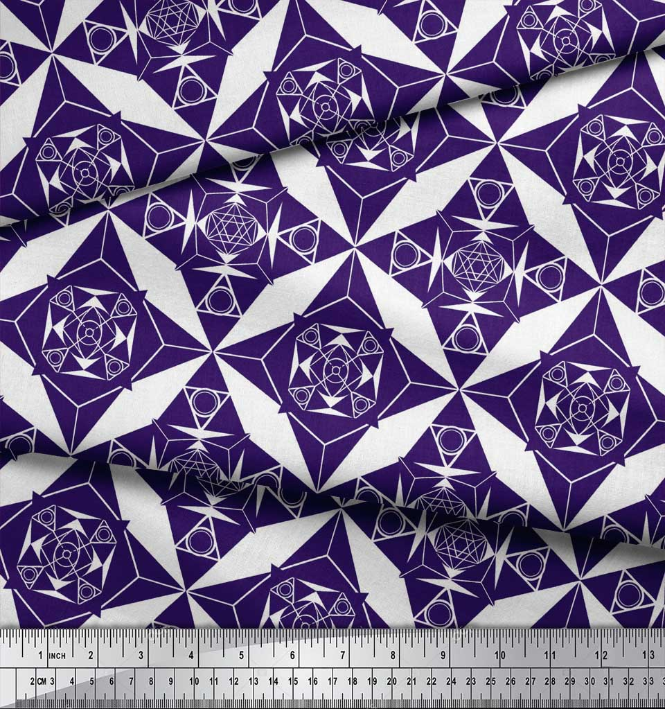 Soimoi-Purple-Cotton-Poplin-Fabric-Geometrical-Star-Geometric-Print-Sk2 thumbnail 4