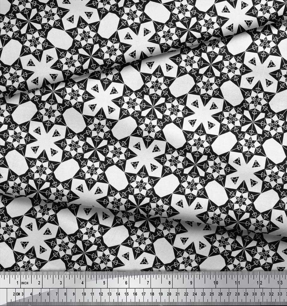 Soimoi-Black-Cotton-Poplin-Fabric-Geometrical-Star-Geometric-Fabric-WTD thumbnail 3