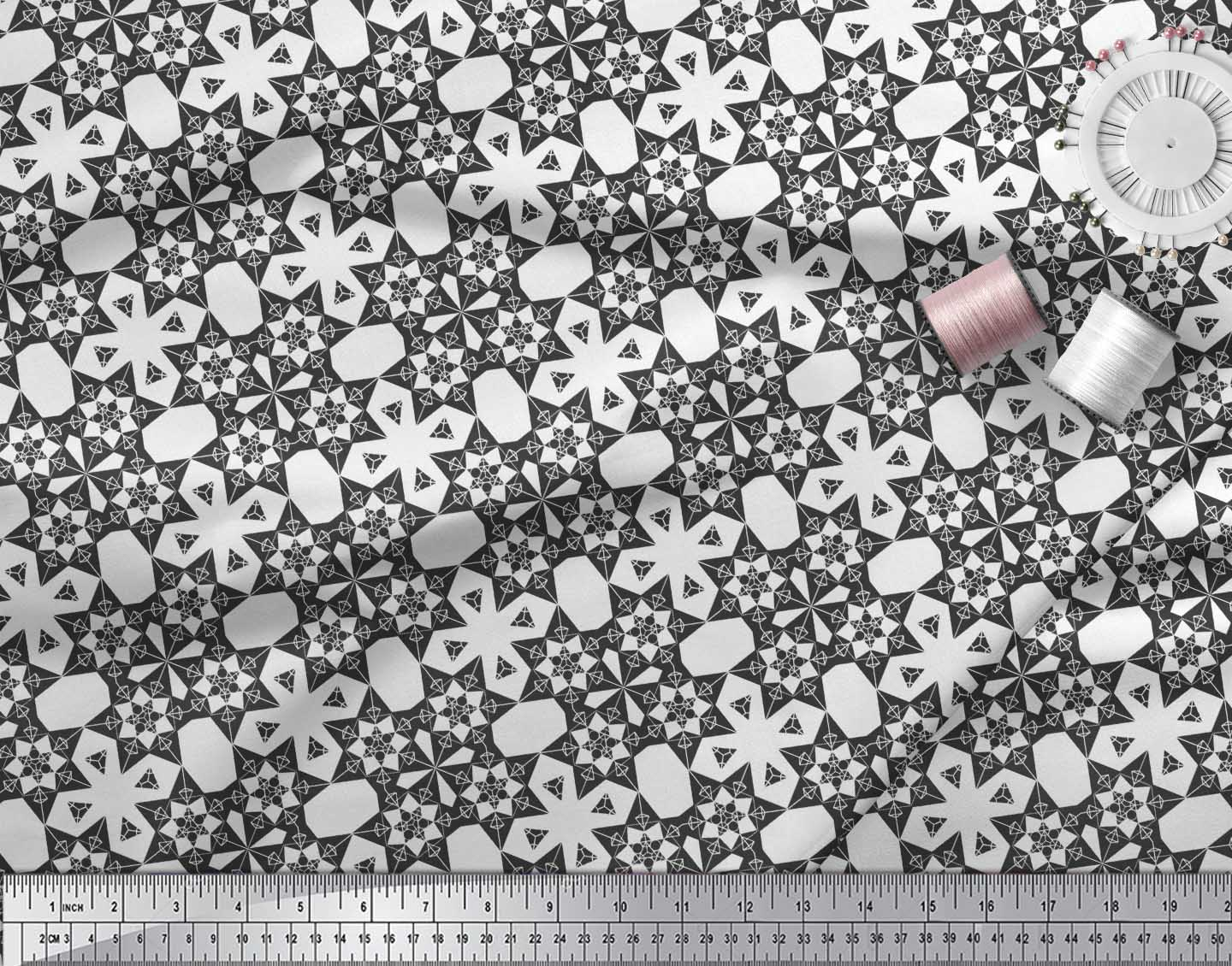 Soimoi-Black-Cotton-Poplin-Fabric-Geometrical-Star-Geometric-Fabric-WTD thumbnail 4