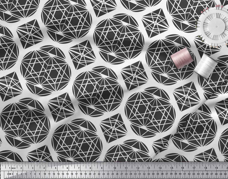 Soimoi-Black-Cotton-Poplin-Fabric-Triangle-amp-Art-Geometric-Decor-XDn thumbnail 4