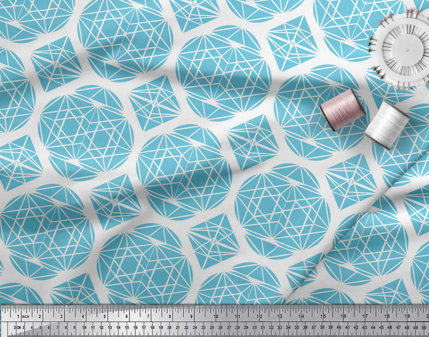 Soimoi-Blue-Cotton-Poplin-Fabric-Triangle-amp-Art-Geometric-Print-bwH thumbnail 3