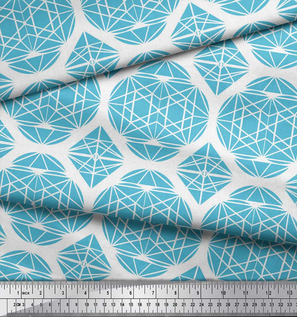Soimoi-Blue-Cotton-Poplin-Fabric-Triangle-amp-Art-Geometric-Print-bwH thumbnail 4