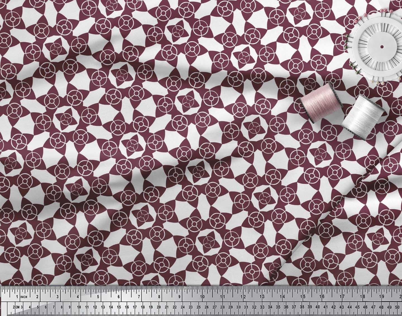 Soimoi-Purple-Cotton-Poplin-Fabric-Floral-Art-Geometric-Print-Fabric-s2I thumbnail 3