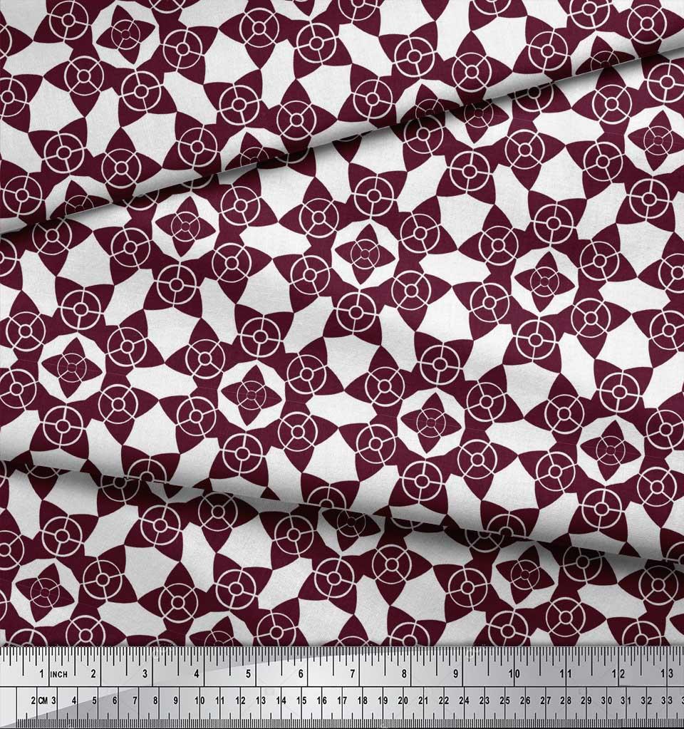 Soimoi-Purple-Cotton-Poplin-Fabric-Floral-Art-Geometric-Print-Fabric-s2I thumbnail 4