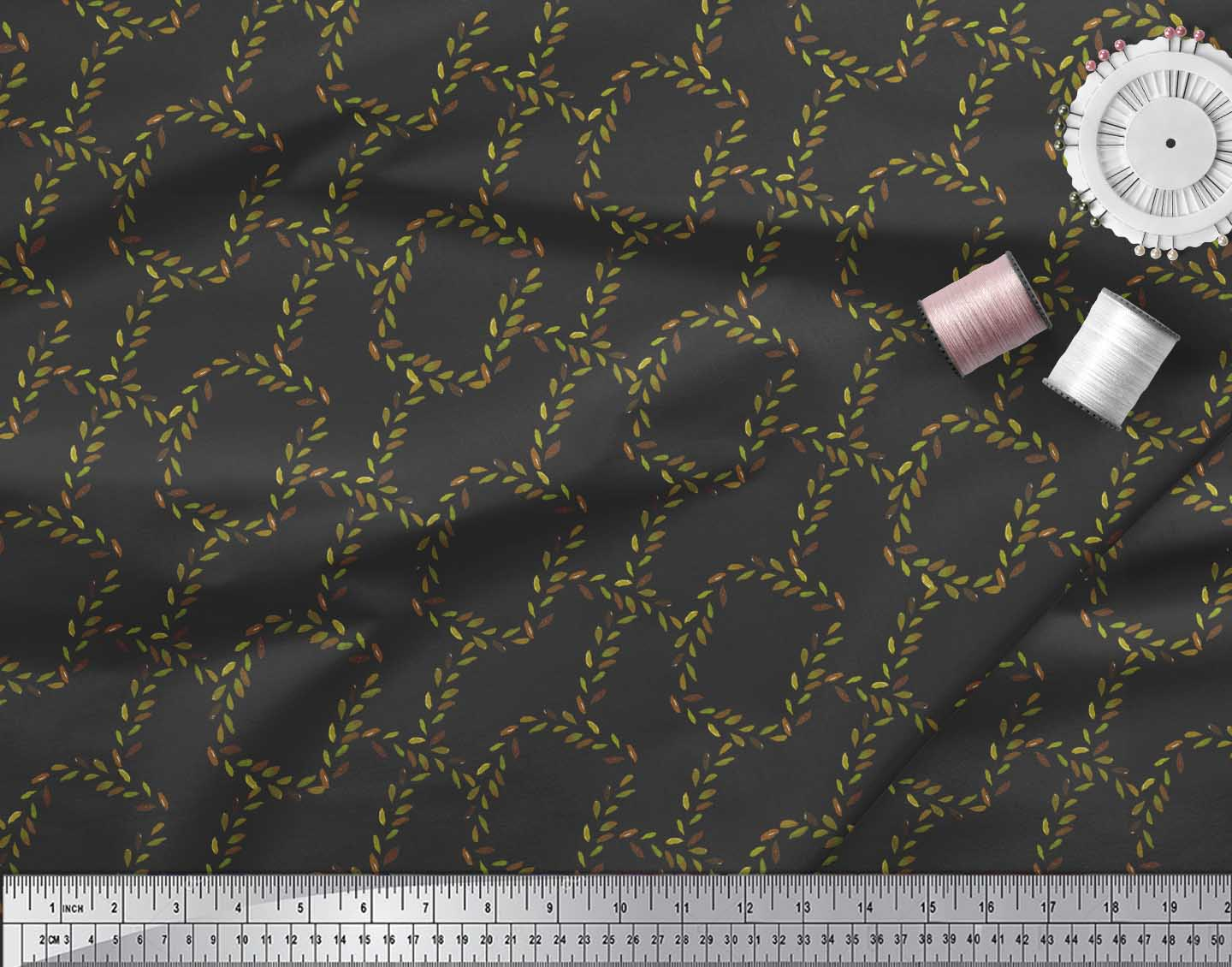 Soimoi-Black-Cotton-Poplin-Fabric-Leaves-amp-Geometric-Print-Sewing-8eY thumbnail 3