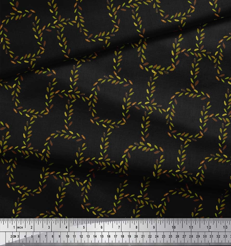 Soimoi-Black-Cotton-Poplin-Fabric-Leaves-amp-Geometric-Print-Sewing-8eY thumbnail 4
