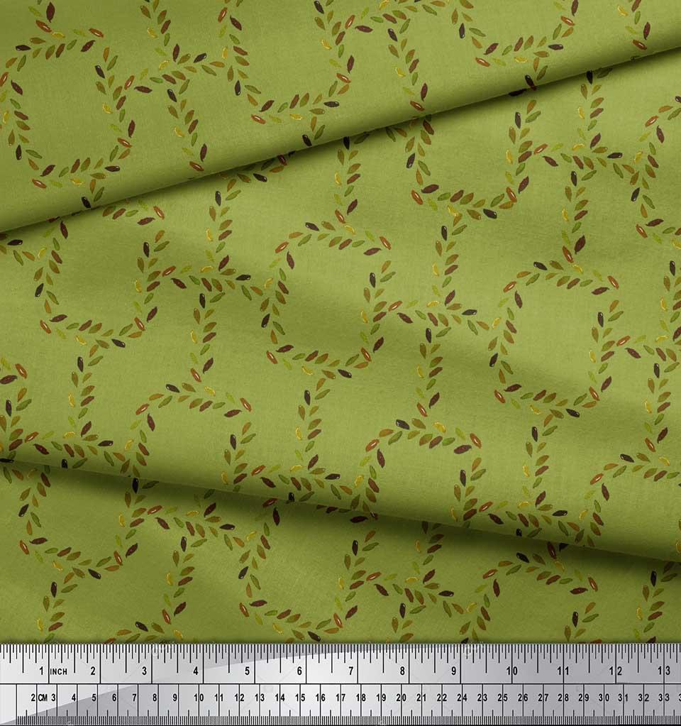 Soimoi-Green-Cotton-Poplin-Fabric-Leaves-amp-Geometric-Printed-Craft-TiV thumbnail 3