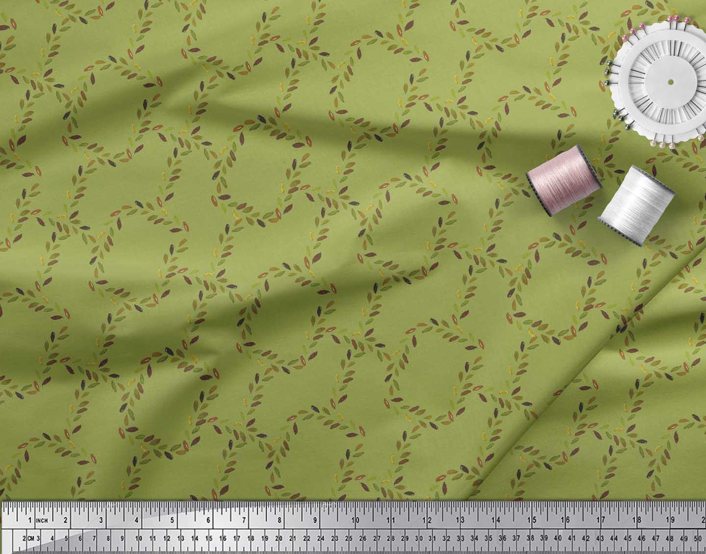 Soimoi-Green-Cotton-Poplin-Fabric-Leaves-amp-Geometric-Printed-Craft-TiV thumbnail 4