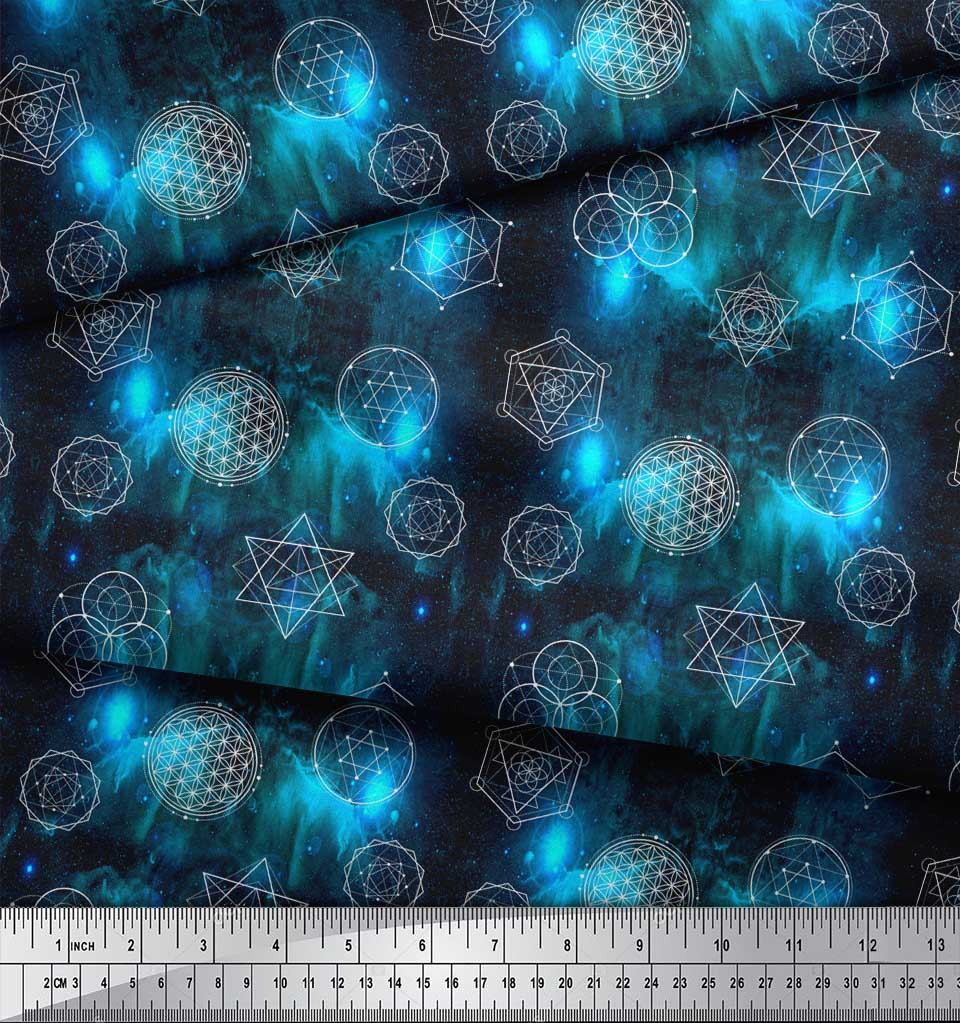 Soimoi-Blue-Cotton-Poplin-Fabric-Scared-Geometric-Galaxy-Printed-2dK thumbnail 3