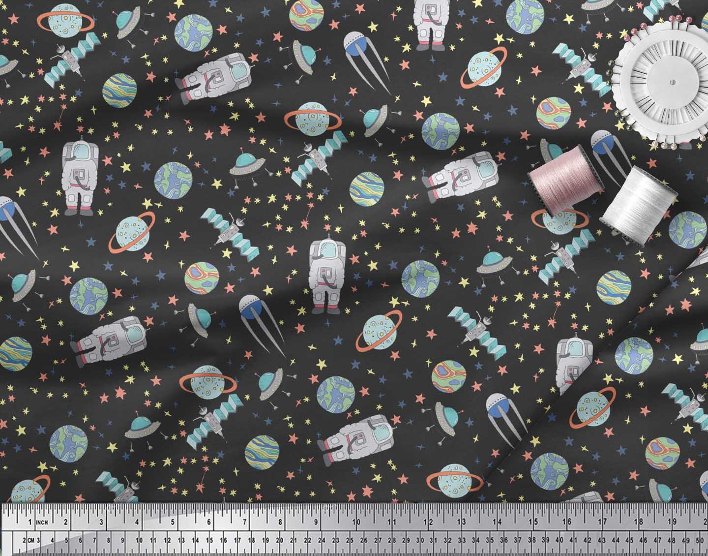 Soimoi-Black-Cotton-Poplin-Fabric-Astronaut-amp-Planet-Galaxy-Printed-QCg thumbnail 4