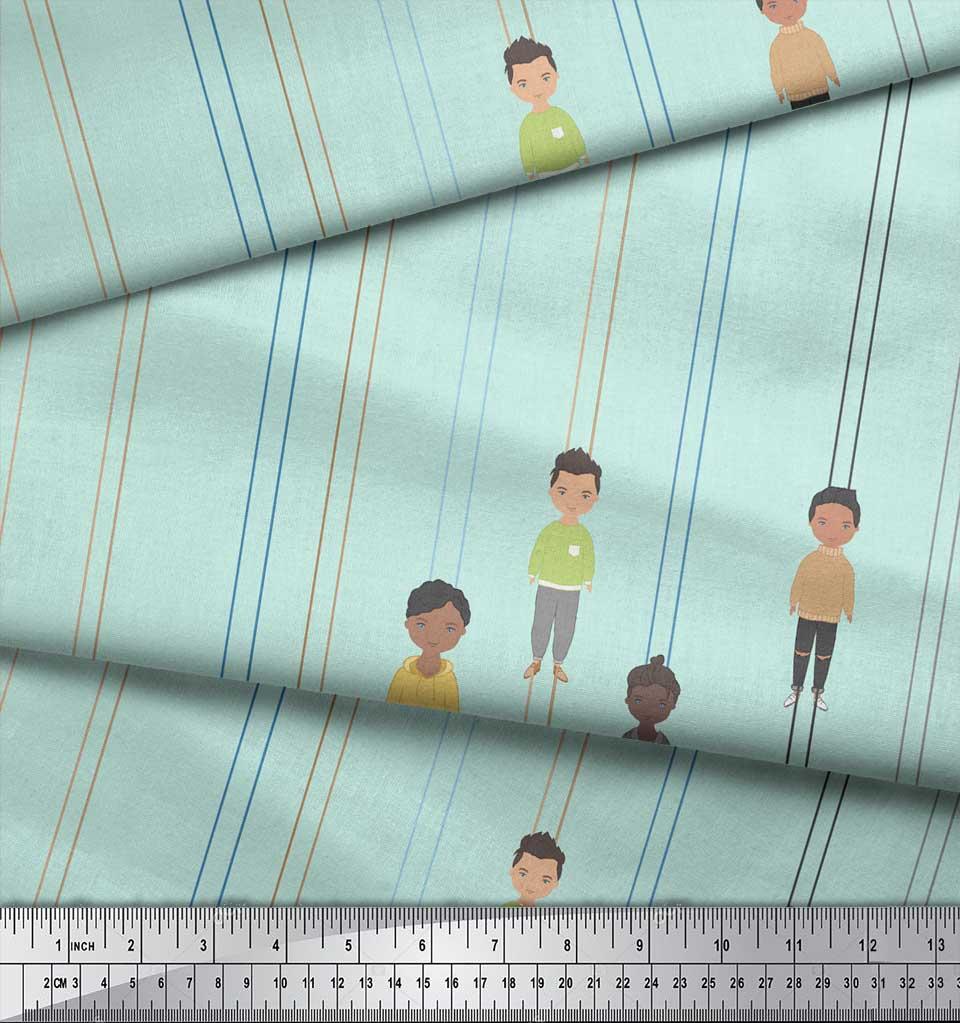 Soimoi-Green-Cotton-Poplin-Fabric-Stripe-amp-Mens-Human-Figure-Printed-gHO thumbnail 3
