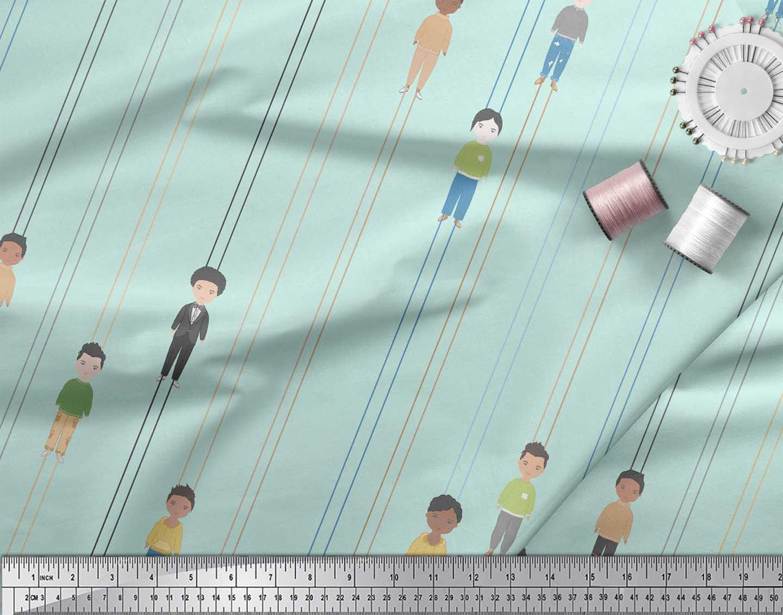 Soimoi-Green-Cotton-Poplin-Fabric-Stripe-amp-Mens-Human-Figure-Printed-gHO thumbnail 4