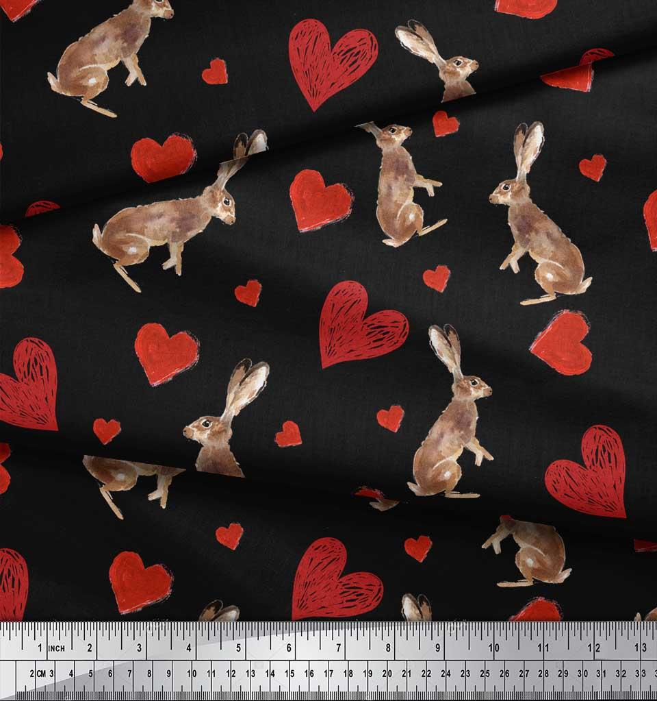 Soimoi-Black-Cotton-Poplin-Fabric-Bunny-amp-Heart-Print-Fabric-by-UEq thumbnail 3