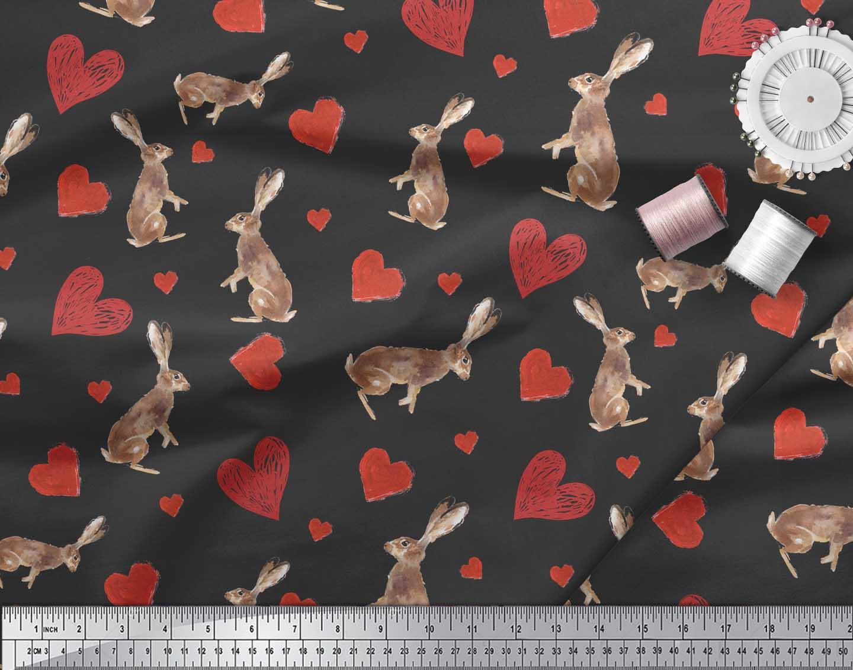 Soimoi-Black-Cotton-Poplin-Fabric-Bunny-amp-Heart-Print-Fabric-by-UEq thumbnail 4
