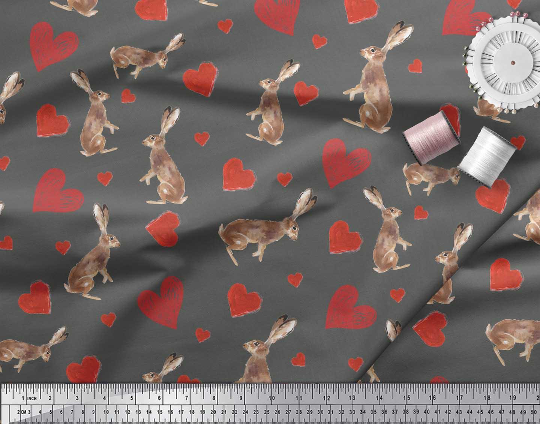 Soimoi-Gray-Cotton-Poplin-Fabric-Bunny-amp-Heart-Printed-Fabric-1-XoL thumbnail 3