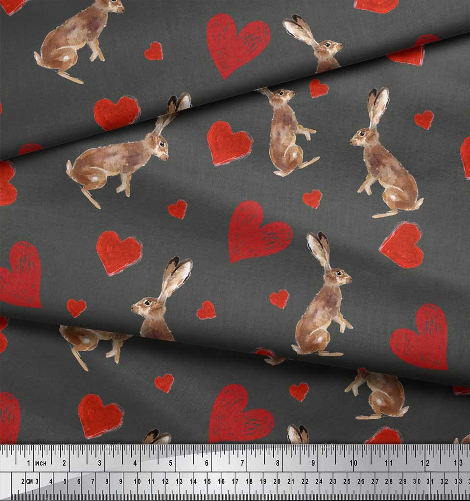 Soimoi-Gray-Cotton-Poplin-Fabric-Bunny-amp-Heart-Printed-Fabric-1-XoL thumbnail 4