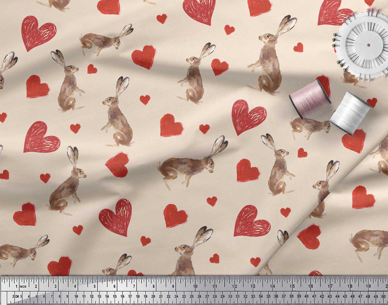 Soimoi-White-Cotton-Poplin-Fabric-Bunny-amp-Heart-Printed-Craft-Fabric-DsS thumbnail 3