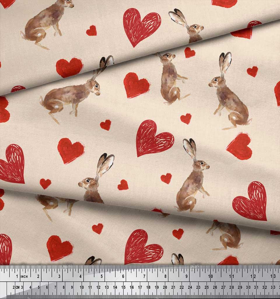 Soimoi-White-Cotton-Poplin-Fabric-Bunny-amp-Heart-Printed-Craft-Fabric-DsS thumbnail 4