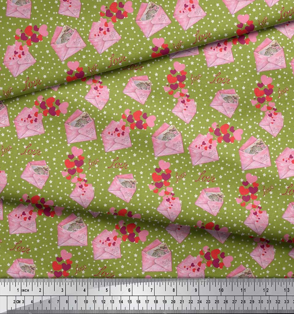 Soimoi-Green-Cotton-Poplin-Fabric-Envelope-Star-amp-Heart-Print-Fabric-p8W thumbnail 3