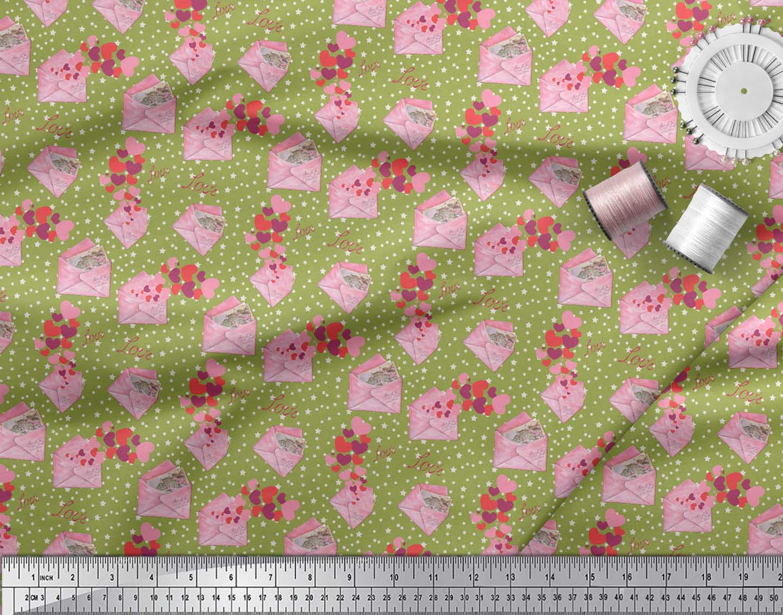 Soimoi-Green-Cotton-Poplin-Fabric-Envelope-Star-amp-Heart-Print-Fabric-p8W thumbnail 4