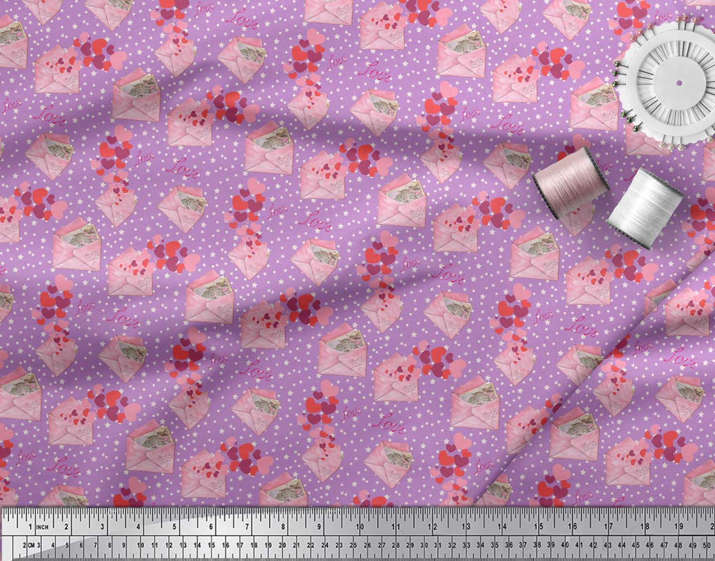 Soimoi-Purple-Cotton-Poplin-Fabric-Envelope-Star-amp-Heart-Print-Fabric-1Yd thumbnail 3