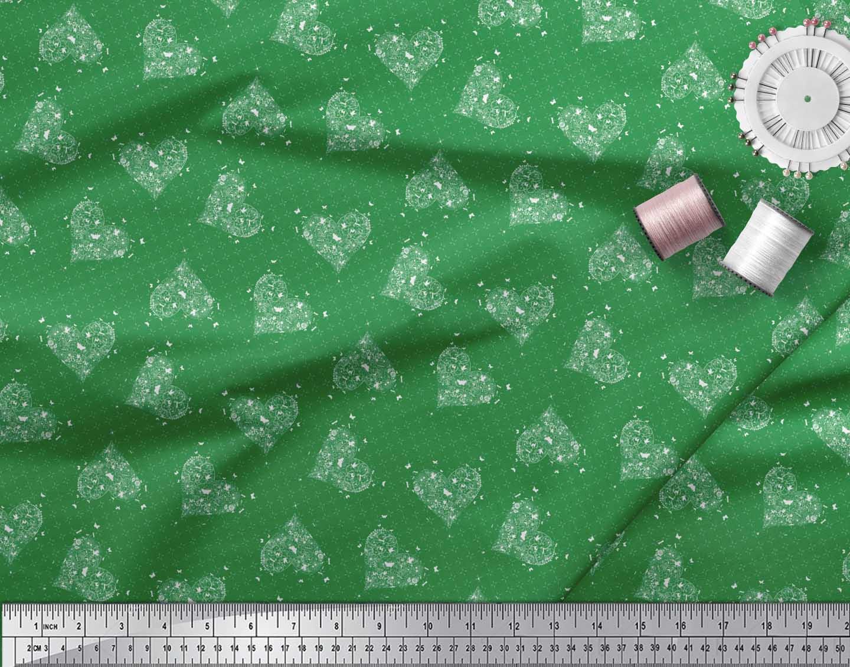 Soimoi-Green-Cotton-Poplin-Fabric-Insect-amp-Floral-Heart-Decor-Fabric-vHa thumbnail 3