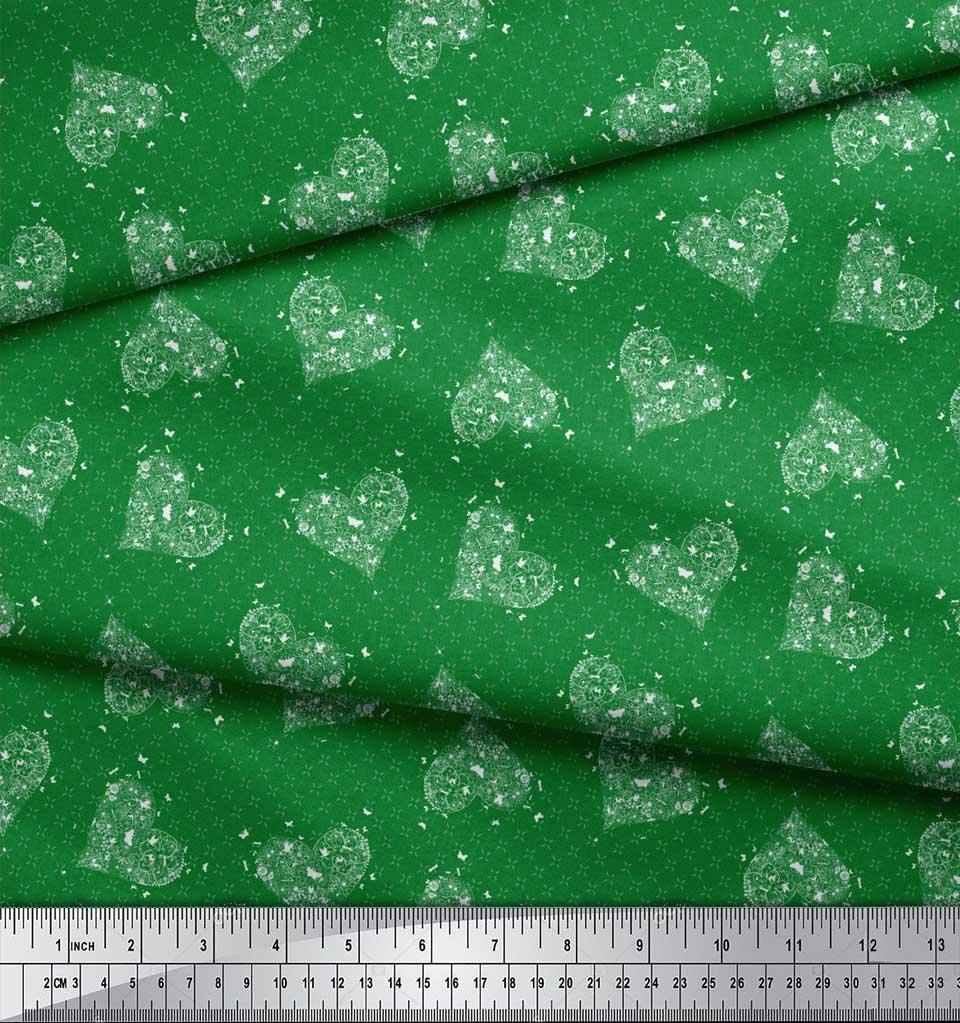 Soimoi-Green-Cotton-Poplin-Fabric-Insect-amp-Floral-Heart-Decor-Fabric-vHa thumbnail 4