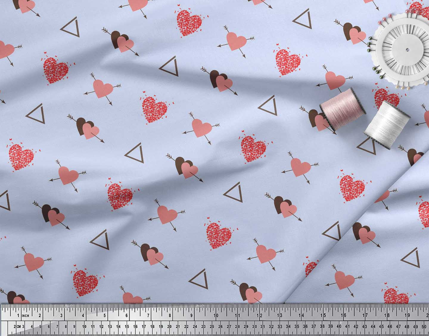 Soimoi-Blue-Cotton-Poplin-Fabric-Triangle-amp-Arrow-Heart-Fabric-Prints-VbE thumbnail 4