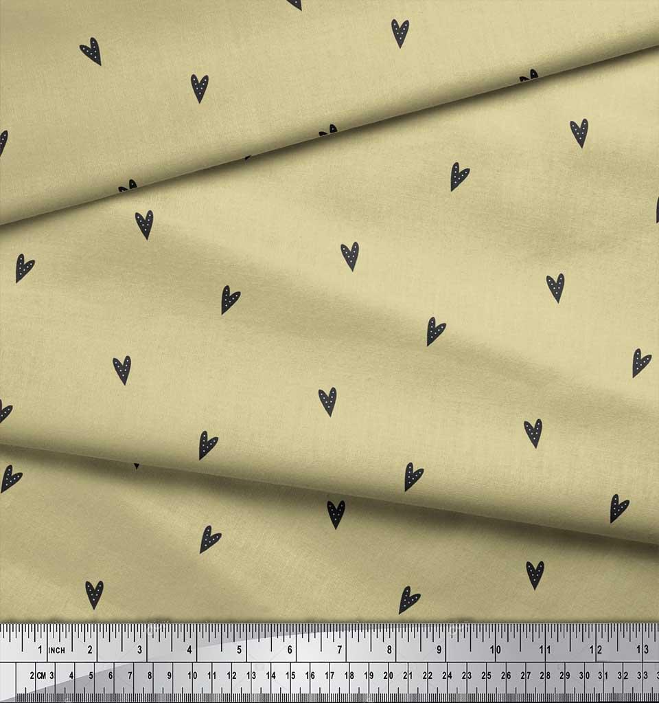 Soimoi-Beige-Cotton-Poplin-Fabric-Black-Heart-Print-Fabric-by-metre-74o thumbnail 3