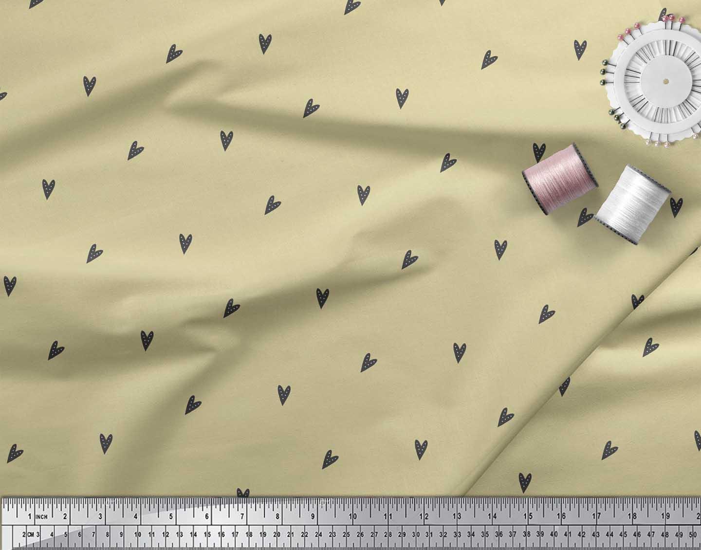 Soimoi-Beige-Cotton-Poplin-Fabric-Black-Heart-Print-Fabric-by-metre-74o thumbnail 4