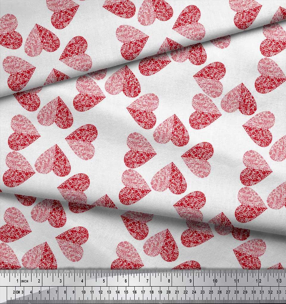 Soimoi-White-Cotton-Poplin-Fabric-Red-Heart-Print-Fabric-by-the-YBs thumbnail 3