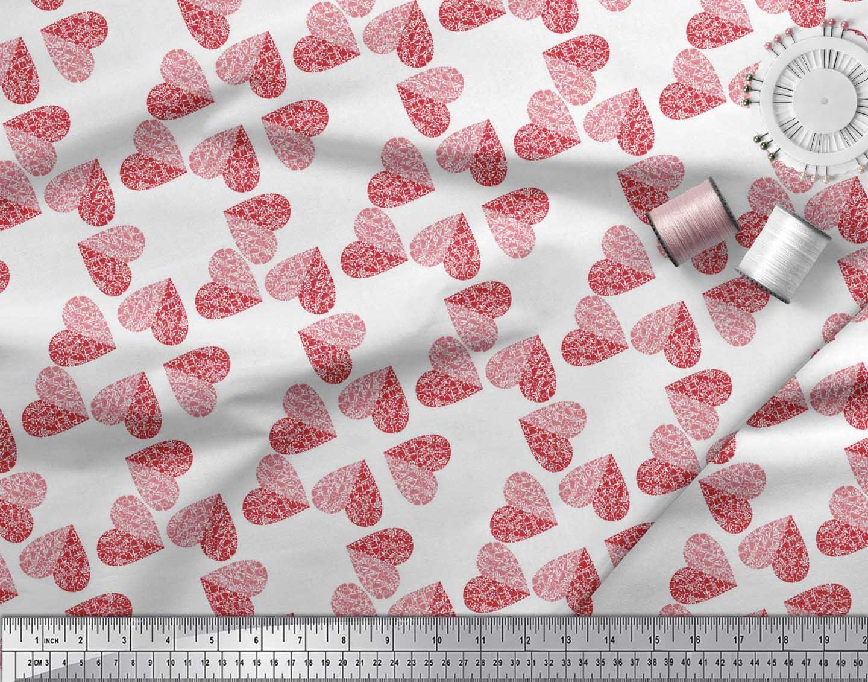 Soimoi-White-Cotton-Poplin-Fabric-Red-Heart-Print-Fabric-by-the-YBs thumbnail 4