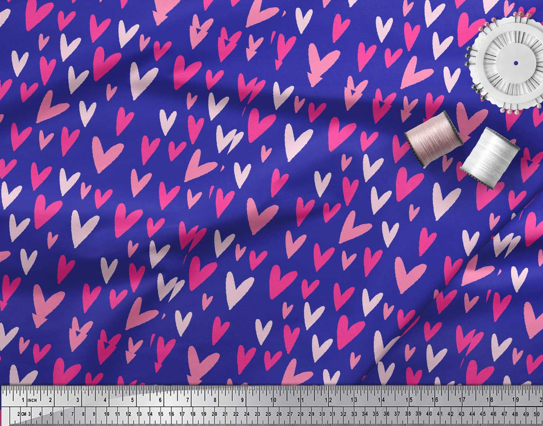 Soimoi-Blue-Cotton-Poplin-Fabric-Pink-Heart-Decor-Fabric-Printed-2kF thumbnail 4
