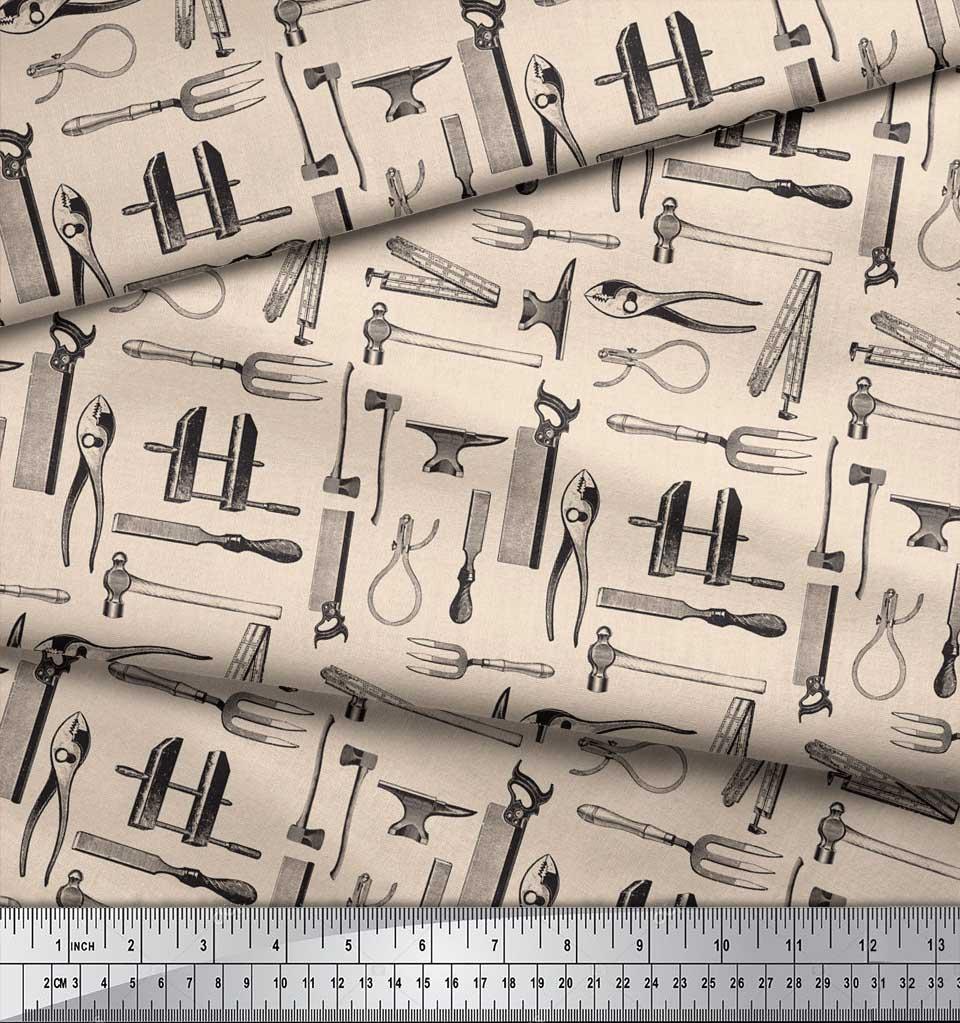 Soimoi-White-Cotton-Poplin-Fabric-Tools-Hardware-Printed-Craft-Fabric-GdW thumbnail 3