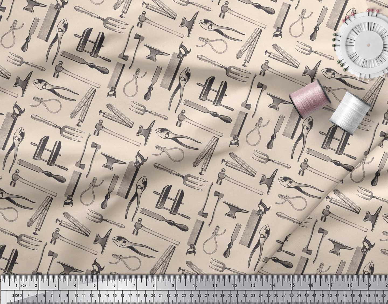 Soimoi-White-Cotton-Poplin-Fabric-Tools-Hardware-Printed-Craft-Fabric-GdW thumbnail 4