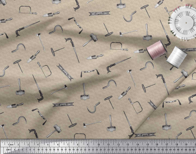 Soimoi-Brown-Cotton-Poplin-Fabric-Square-amp-Tools-Hardware-Print-kgO thumbnail 4