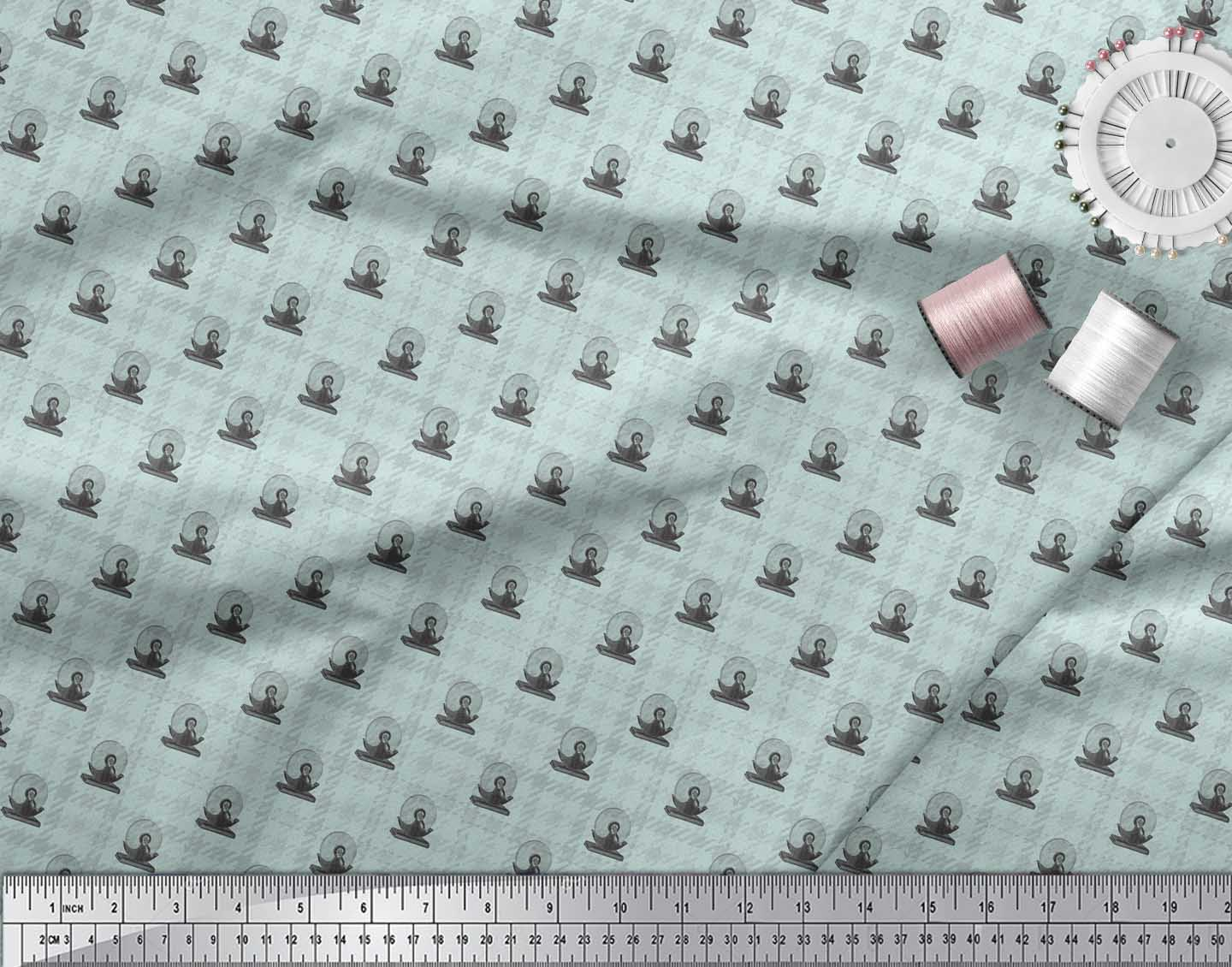 Soimoi-Green-Cotton-Poplin-Fabric-Check-amp-cut-off-saw-Hardware-Printed-Wfh thumbnail 3