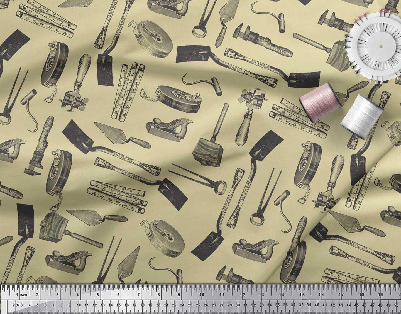 Soimoi-Beige-Cotton-Poplin-Fabric-Gardening-Tools-amp-Hardware-Print-n8L thumbnail 3