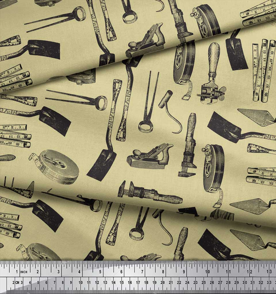 Soimoi-Beige-Cotton-Poplin-Fabric-Gardening-Tools-amp-Hardware-Print-n8L thumbnail 4