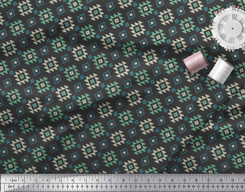 Soimoi-Black-Cotton-Poplin-Fabric-Geometric-Ikat-Printed-Fabric-qQc thumbnail 3