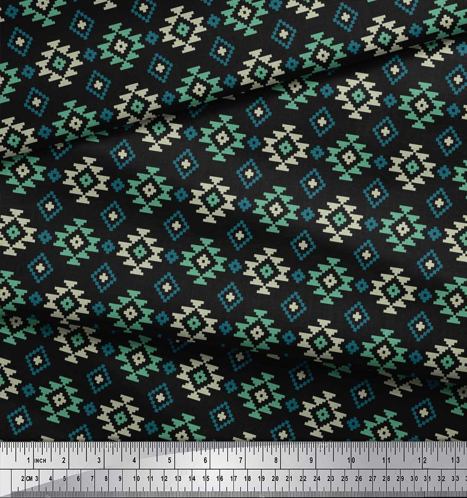 Soimoi-Black-Cotton-Poplin-Fabric-Geometric-Ikat-Printed-Fabric-qQc thumbnail 4