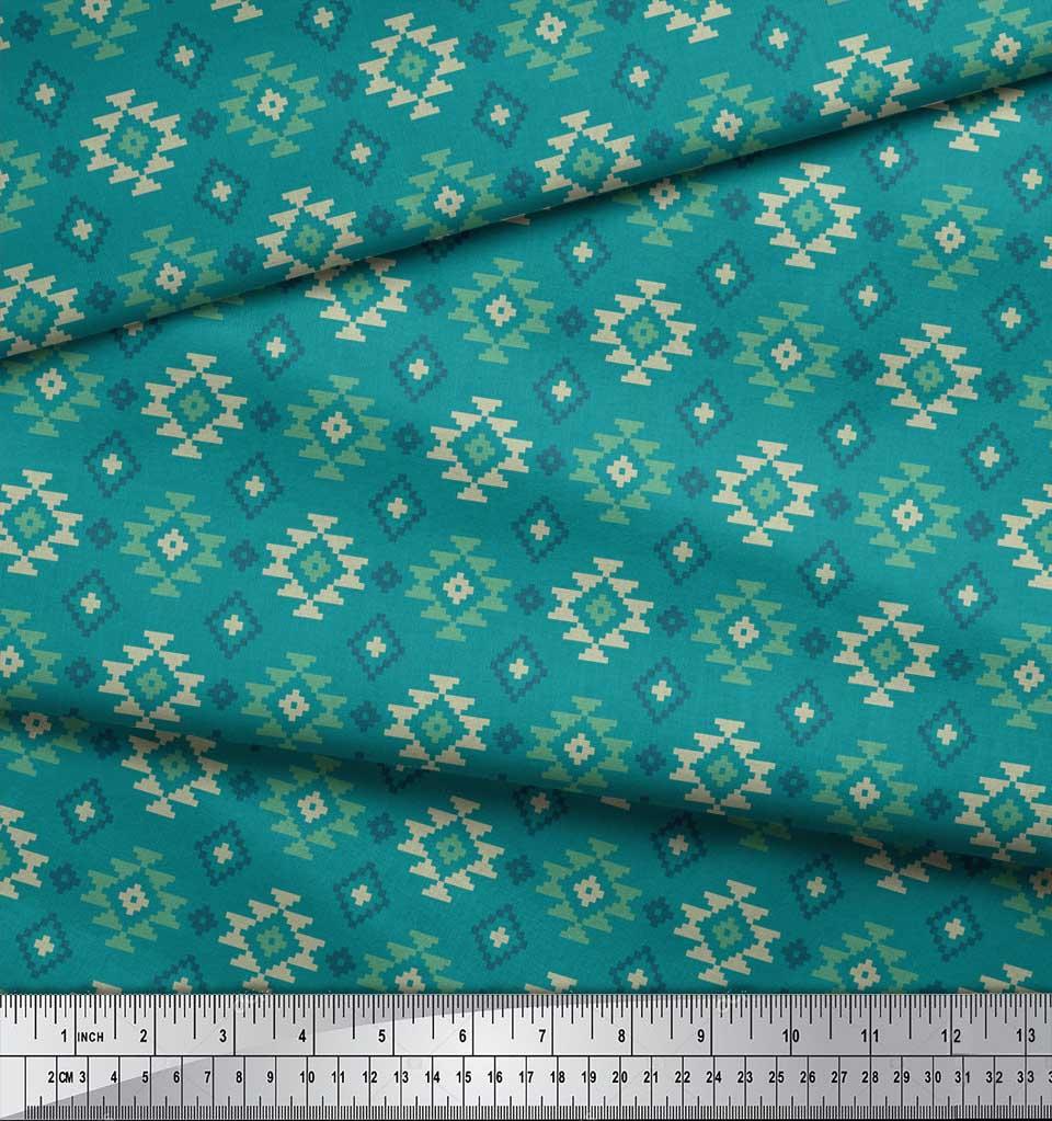 Soimoi-Green-Cotton-Poplin-Fabric-Geometric-Ikat-Print-Sewing-Fabric-BoR thumbnail 3