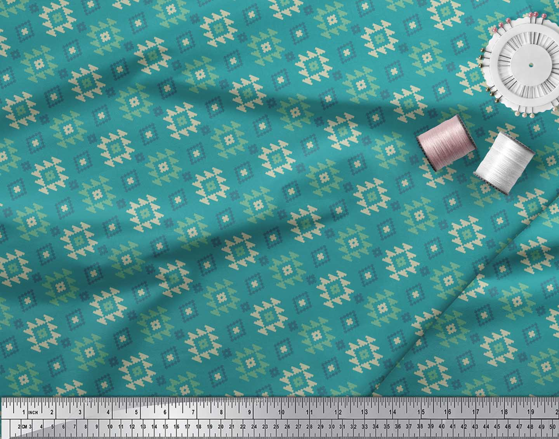 Soimoi-Green-Cotton-Poplin-Fabric-Geometric-Ikat-Print-Sewing-Fabric-BoR thumbnail 4