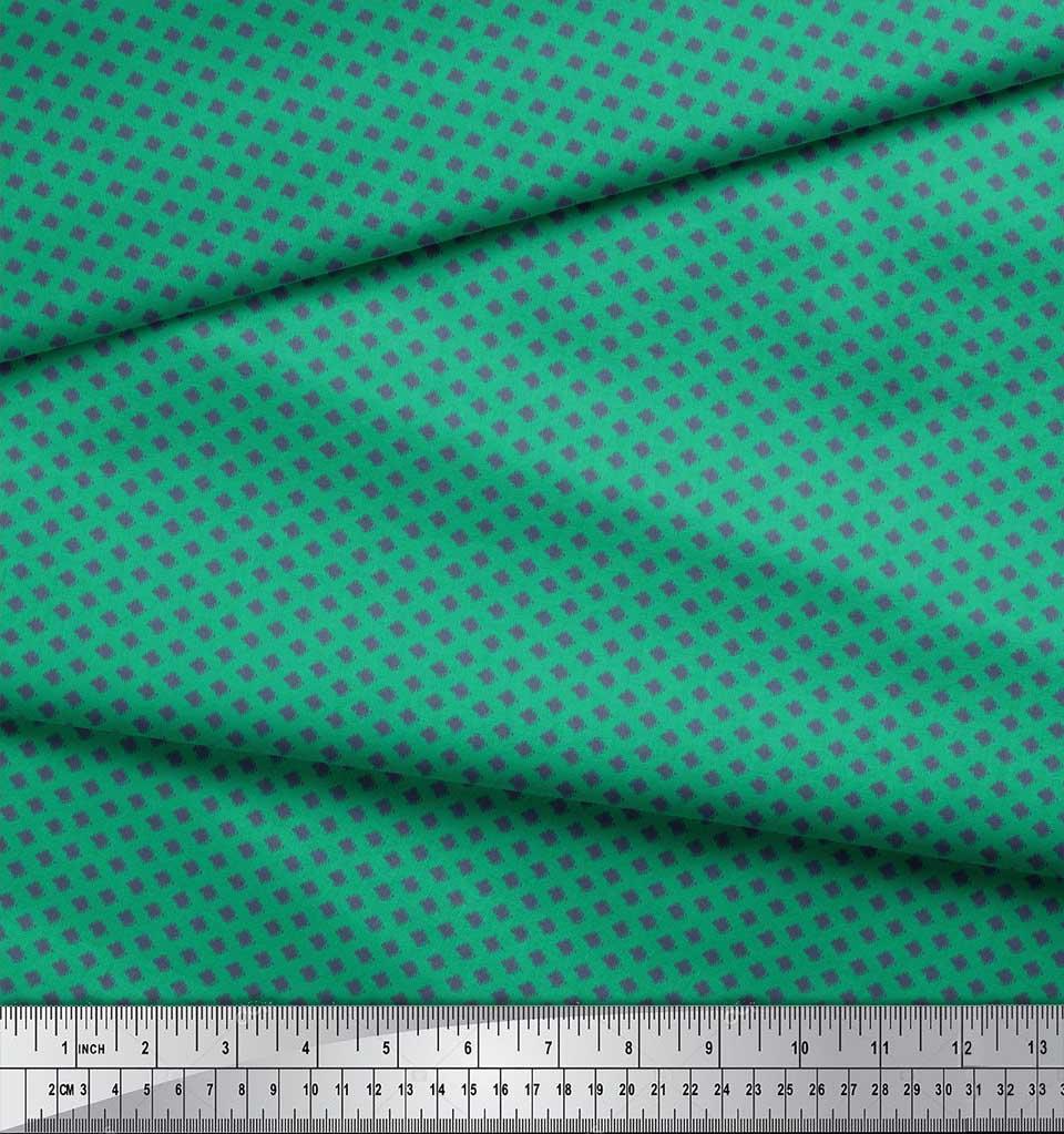 Soimoi-Green-Cotton-Poplin-Fabric-Dot-Ikat-Fabric-Prints-By-metre-QU8 thumbnail 4