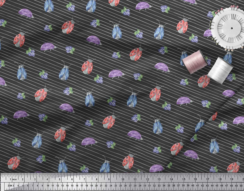 Soimoi-Black-Cotton-Poplin-Fabric-Insect-Printed-Craft-Fabric-by-yR5 thumbnail 3
