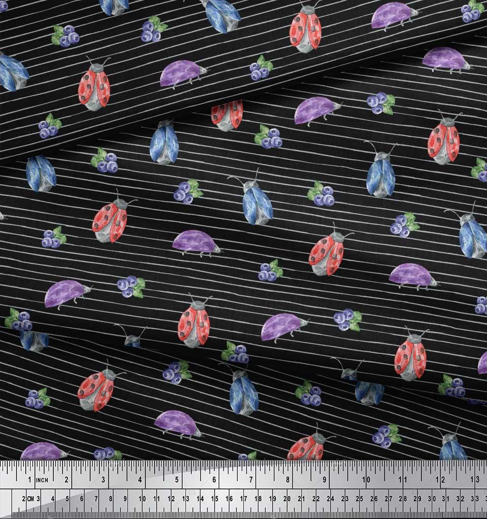 Soimoi-Black-Cotton-Poplin-Fabric-Insect-Printed-Craft-Fabric-by-yR5 thumbnail 4