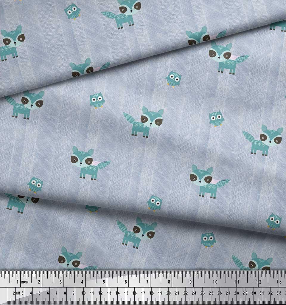 Soimoi-Blue-Cotton-Poplin-Fabric-Fox-amp-Owl-Kids-Fabric-Prints-By-OIN thumbnail 3
